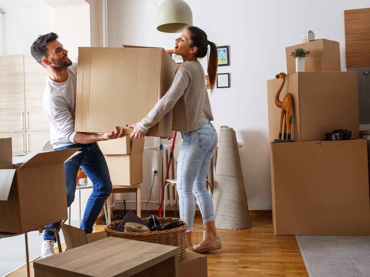Couple moving into a home