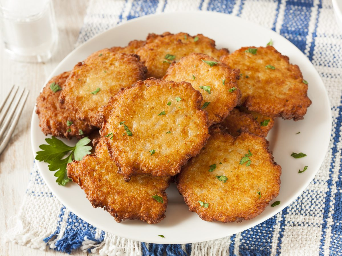 Homemade latke: traditional potato pancake
