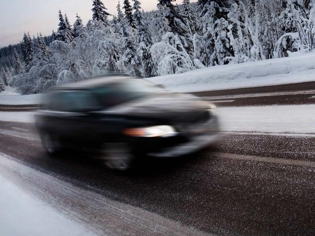Speeding car on winter road