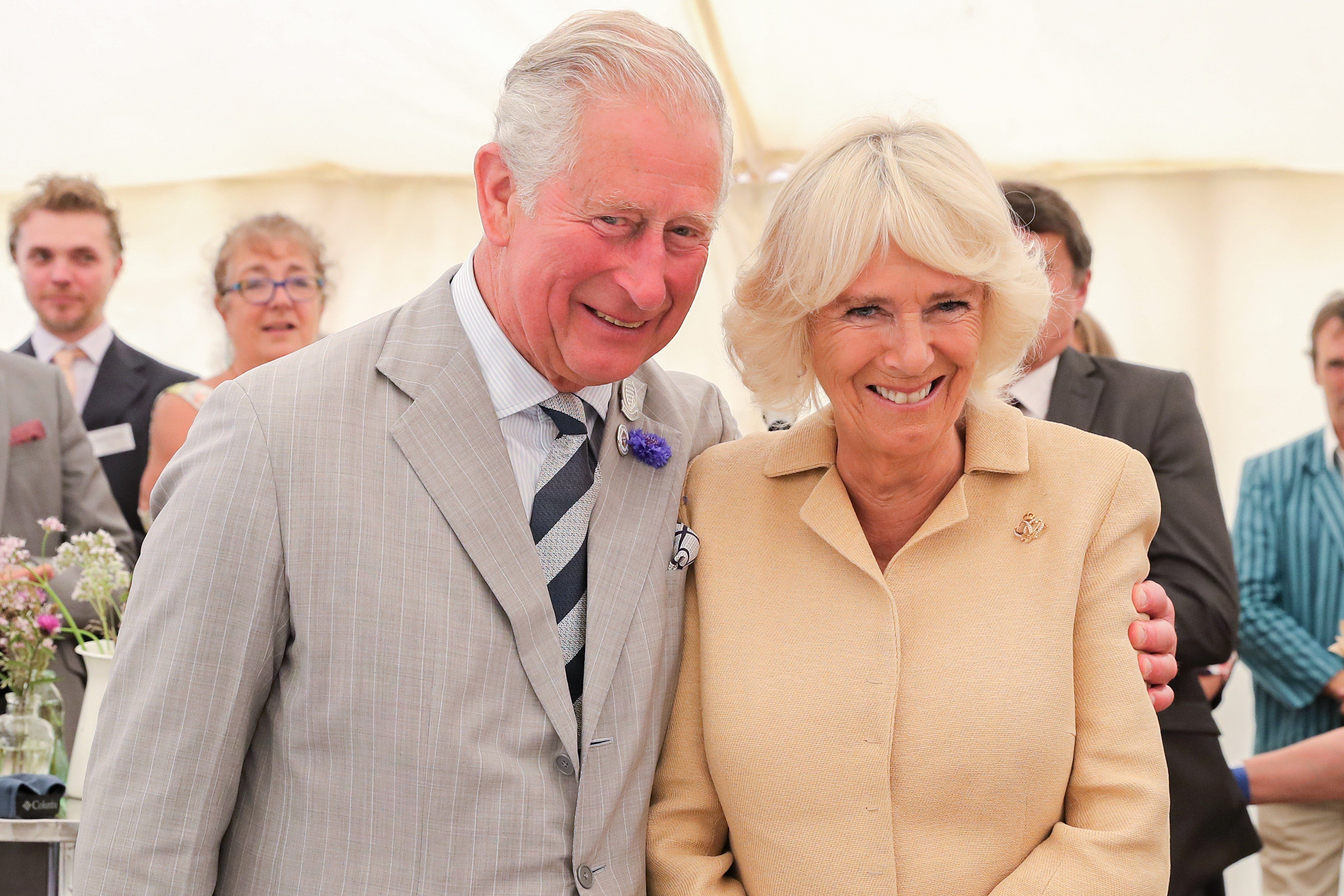 Mandatory Credit: Photo by Shutterstock (10340035bg) Camilla Duchess of Cornwall is sung Happy Birthday by Prince Charles and the crowds gathered at the National Parks Big Picnic celebration in honour of all 15 of the UKs National Parks, during an official visit to Simonsbath, England. Held in Exmoor National Park the picnic marks 70 years since they were created by the 1949 National Parks and Access to the Countryside Act. Royal visit to Somerset, UK - 17 Jul 2019