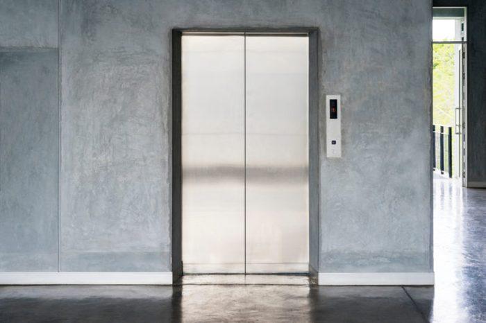 elevator with closed door