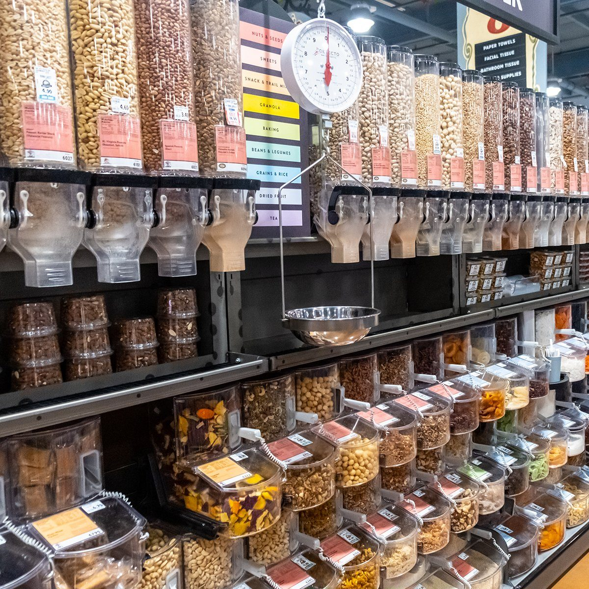 Davis, CA/USA 9/5/2019 Bulk food dispensers of organic healthy nuts, grains, dried fruits, pasta, spices and much more in a supermarket aisle; Shutterstock ID 1496915084; Job (TFH, TOH, RD, BNB, CWM, CM): TOH