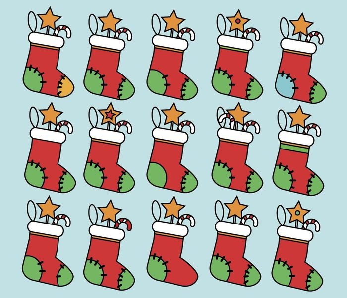 Find the same pictures children educational game. Find equal pairs of christmas socks kids activity. New Year winter holidays theme.