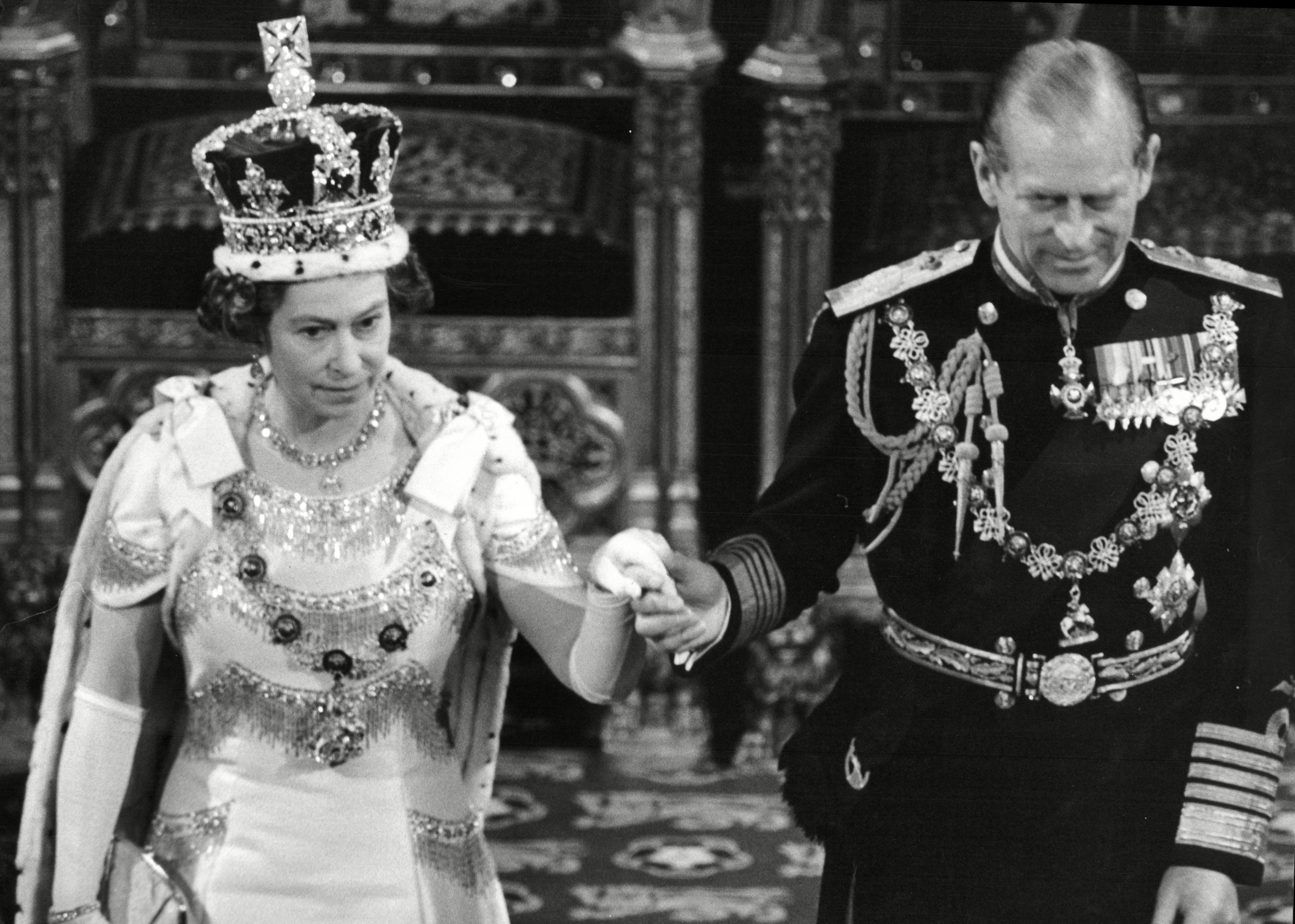Mandatory Credit: Photo by Geoffrey White/ANL/Shutterstock (1477922a) Queen Elizabeth II And Prince Philip At House Of Lords For State Opening Of Parliament 1978. Queen Elizabeth Ii And Prince Philip At House Of Lords For State Opening Of Parliament 1978.
