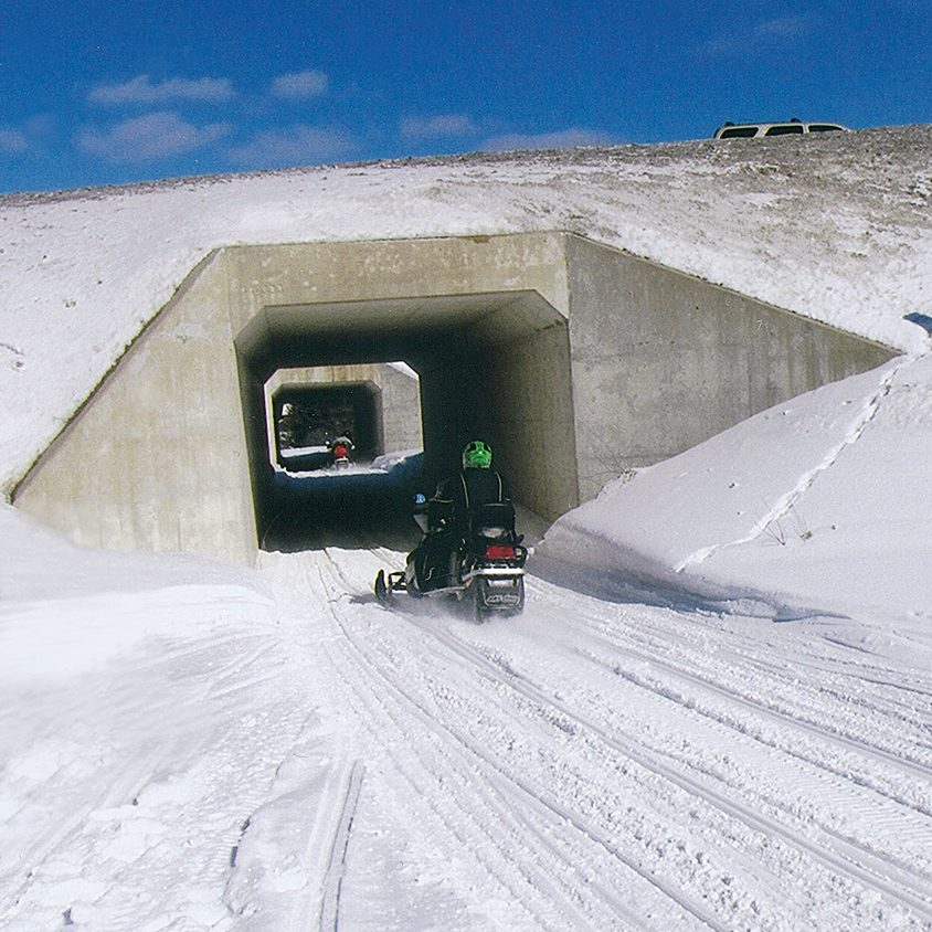 Snowmobile tunnel near Kearney, Ontario