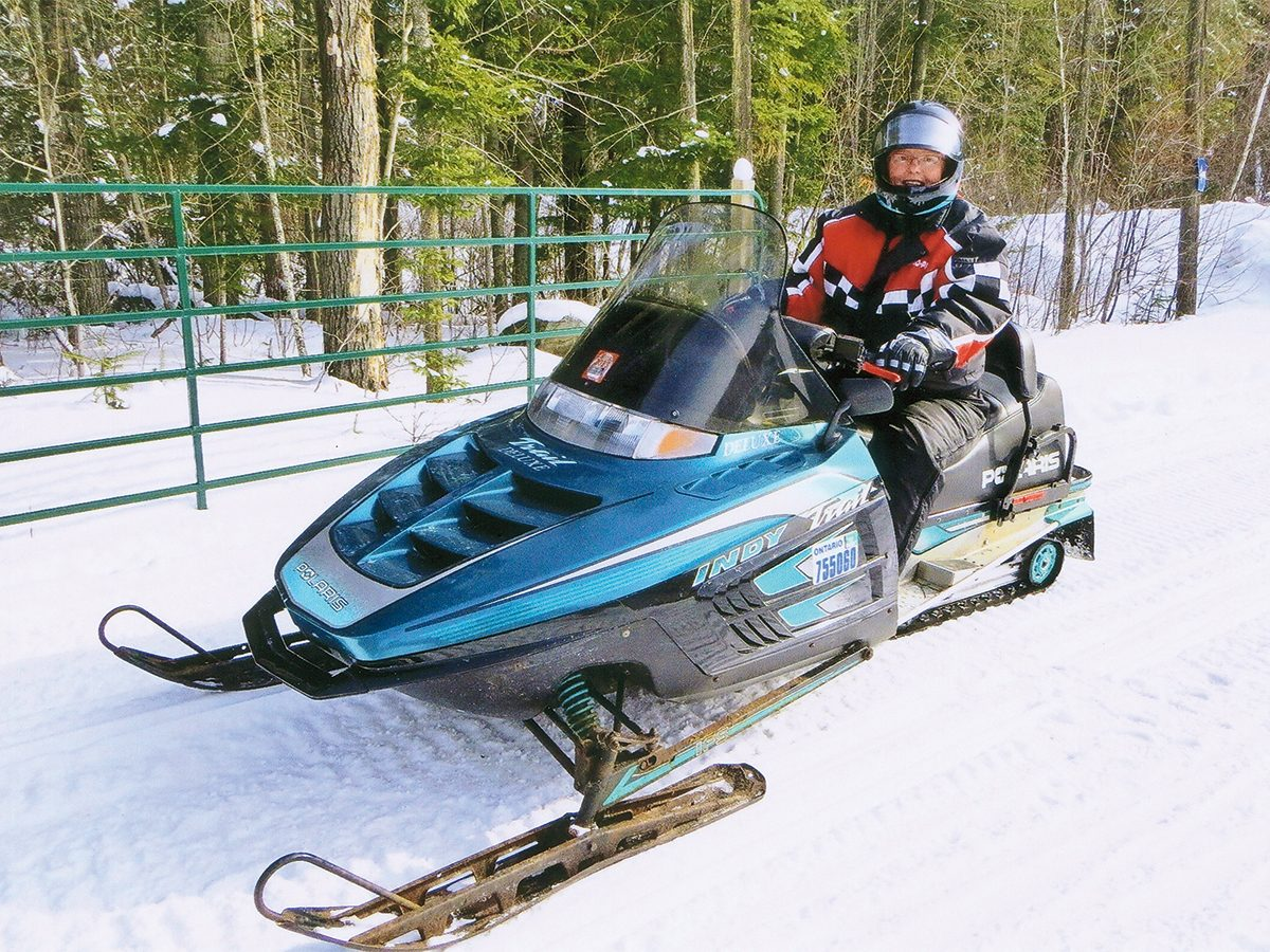 Snowmobiling southwestern ontario - Mary Dunk on snowmobile