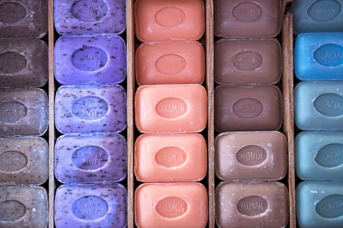 Rows of colorful traditional French Marseille soap