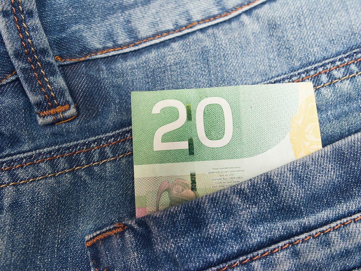 Ways to make more money - Canadian $20 bill in pocket