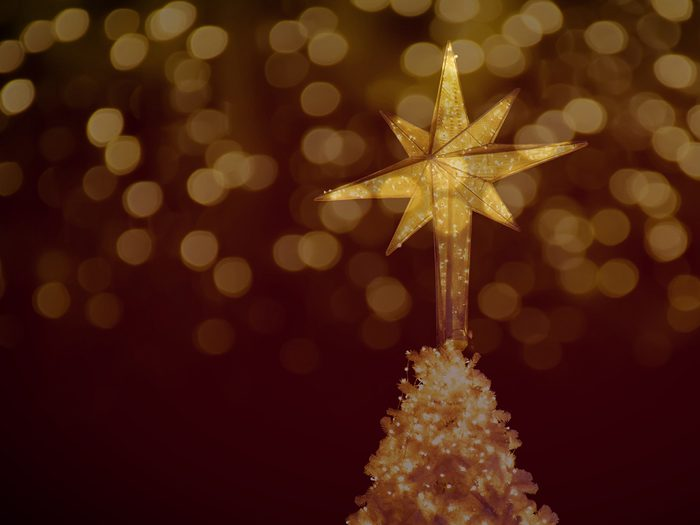 Christmas during the Great Depression - gold star on Christmas tree