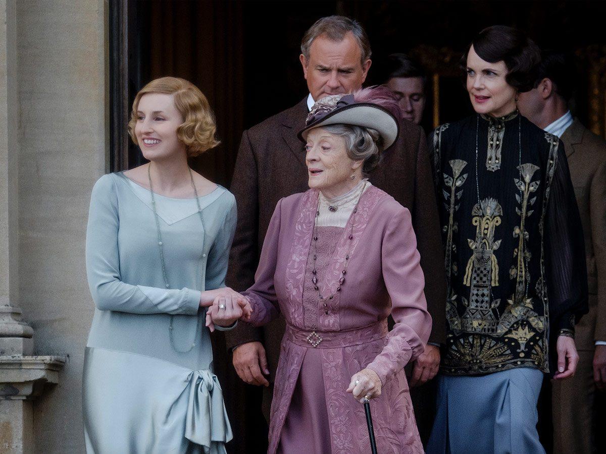 Laura Carmichael stars as Lady Edith, Maggie Smith as Violet Crawley, Hugh Bonneville as Robert Crawley, Allen Leech as Tom Branson and Elizabeth McGovern as Cora Crawley in Downton Abbey