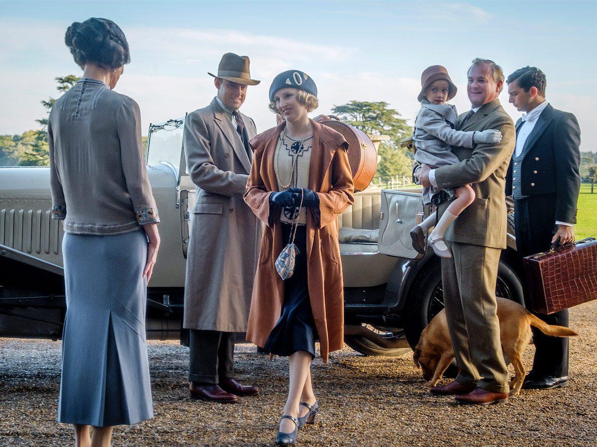 Elizabeth McGovern stars as Cora Crawley, Harry Hadden-Paton as Bertie Hexham, Laura Carmichael as Lady Edith, Hugh Bonneville as Robert Crawley and Michael Fox as Andy in Downton Abbey