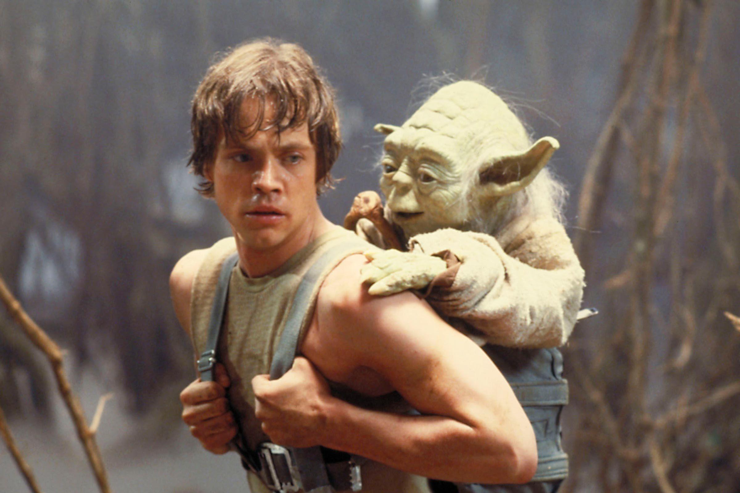 Mark Hamill and Yoda in the swamp, 1980