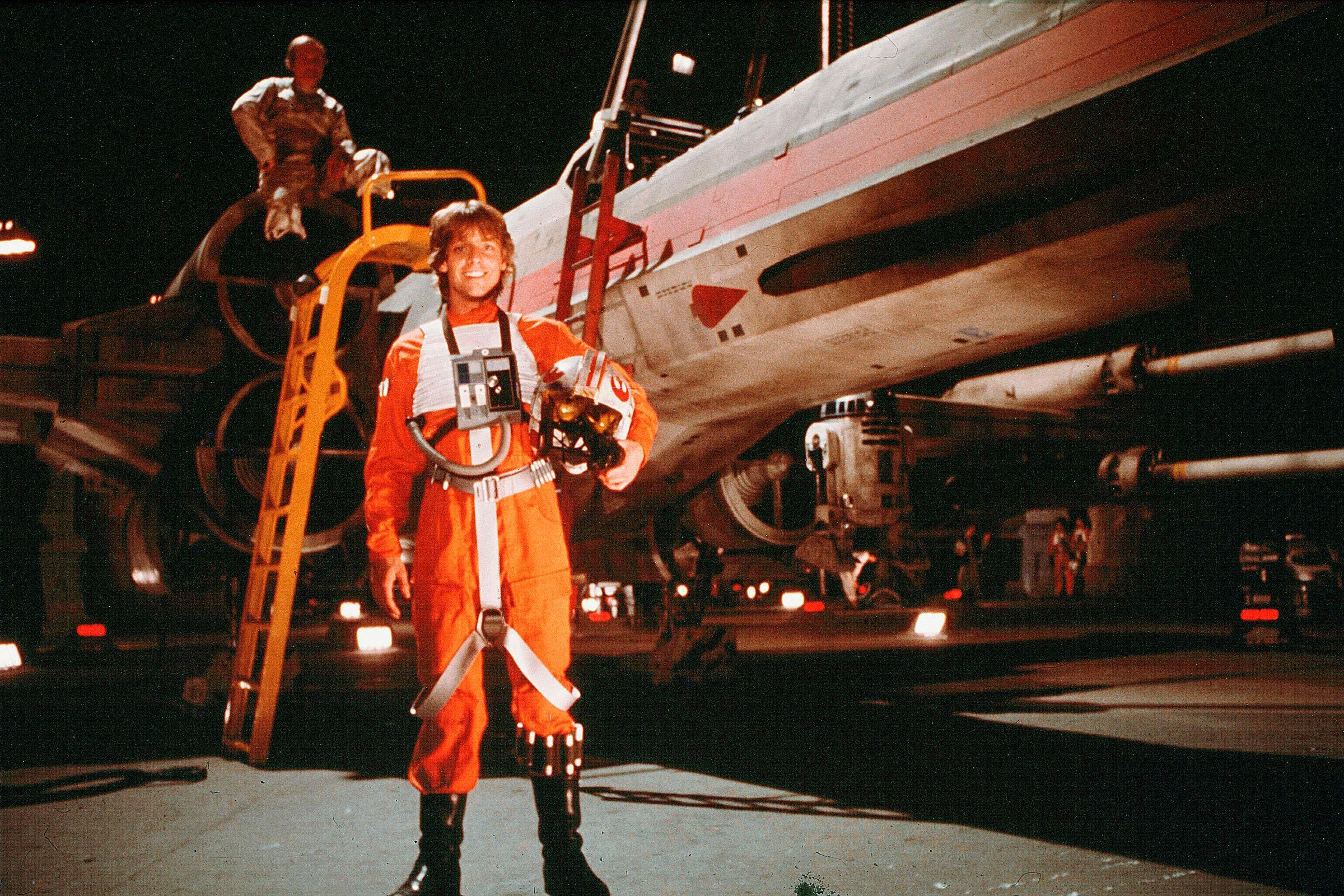 Mark Hamill on the set of Star Wars Episode IV - A New Hope - 1977