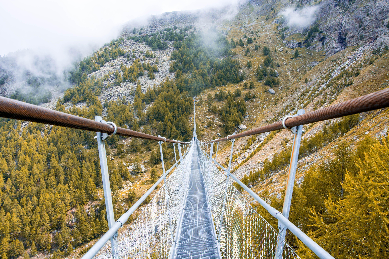 Charles Kuonen Suspension Bridge with no people