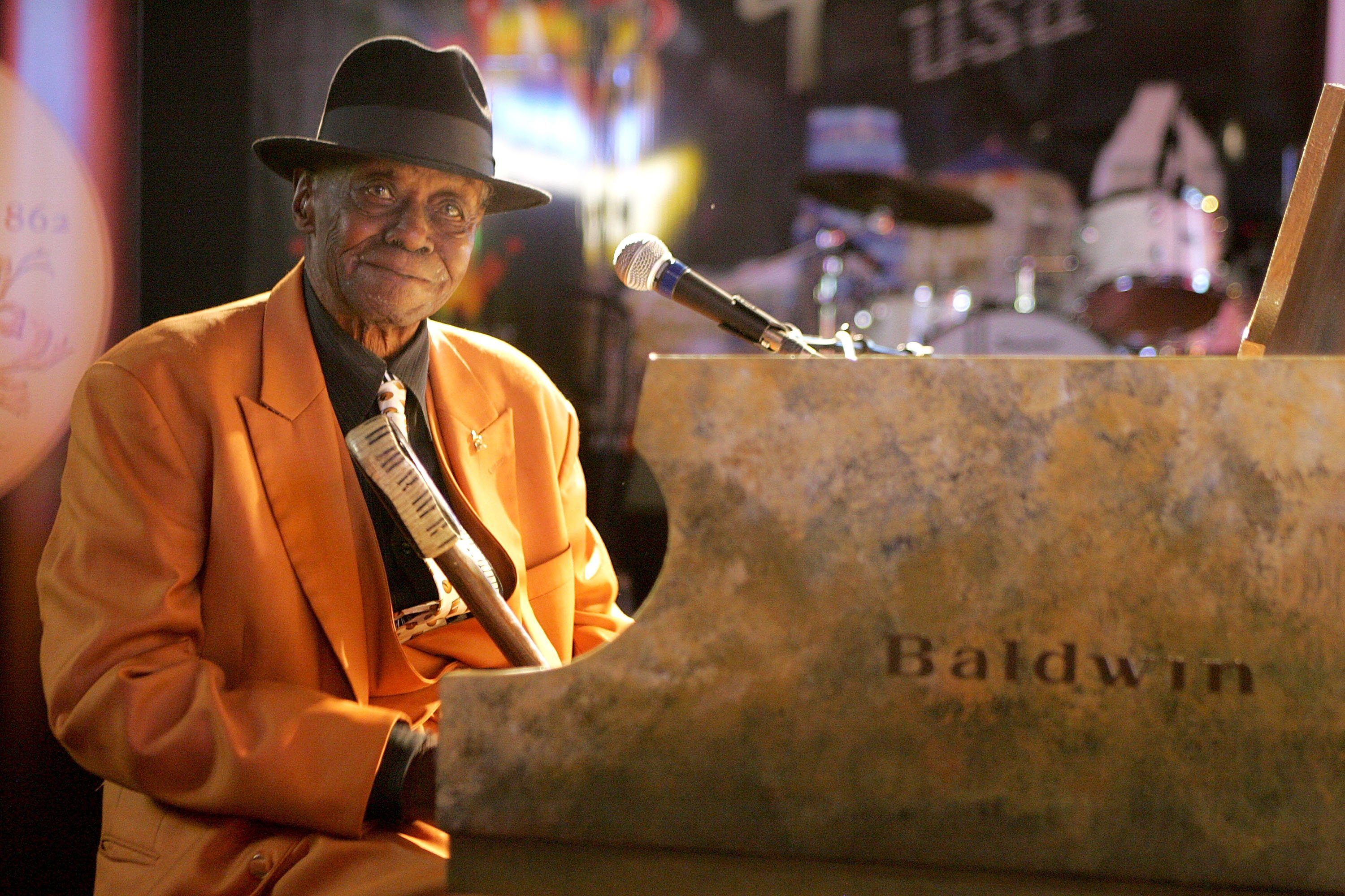 """Joseph William """"Pinetop"""" Perkins seen here performing at the Gibson Austin Showroom on October 28, 2008 in Austin, Texas."""