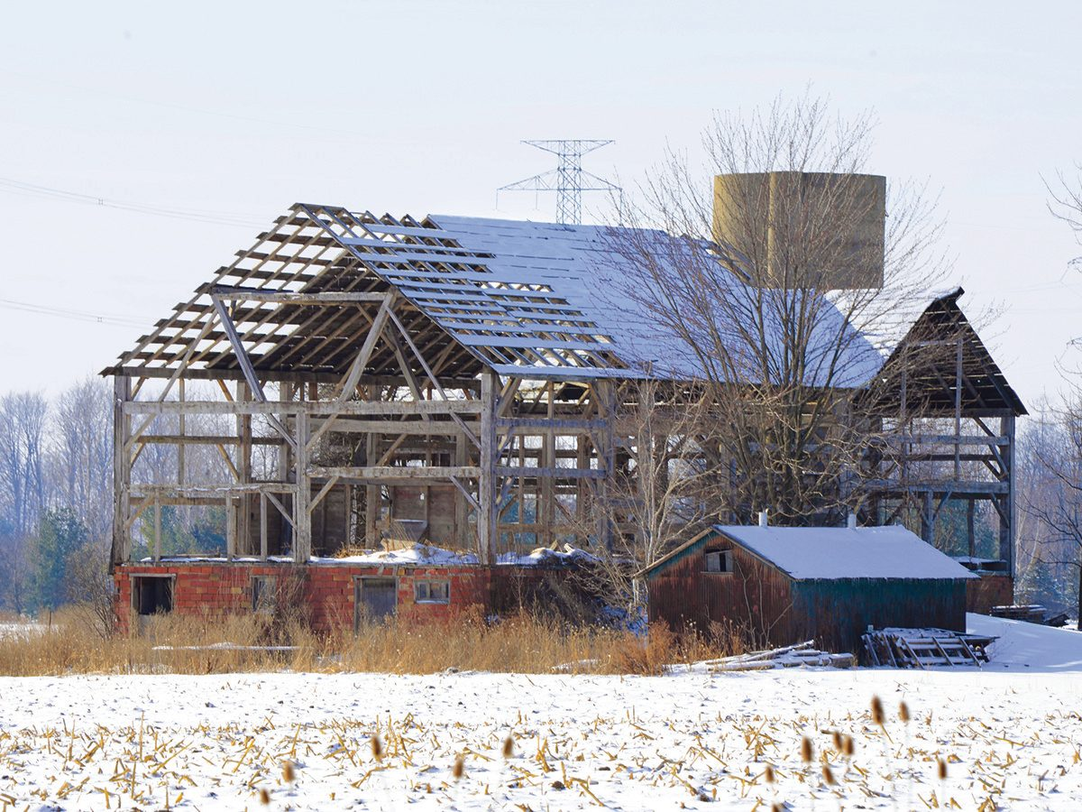 Abandoned barns in New Sarum, Ontario