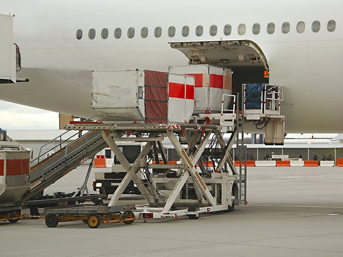 Aviation terms - airplane loading cargo