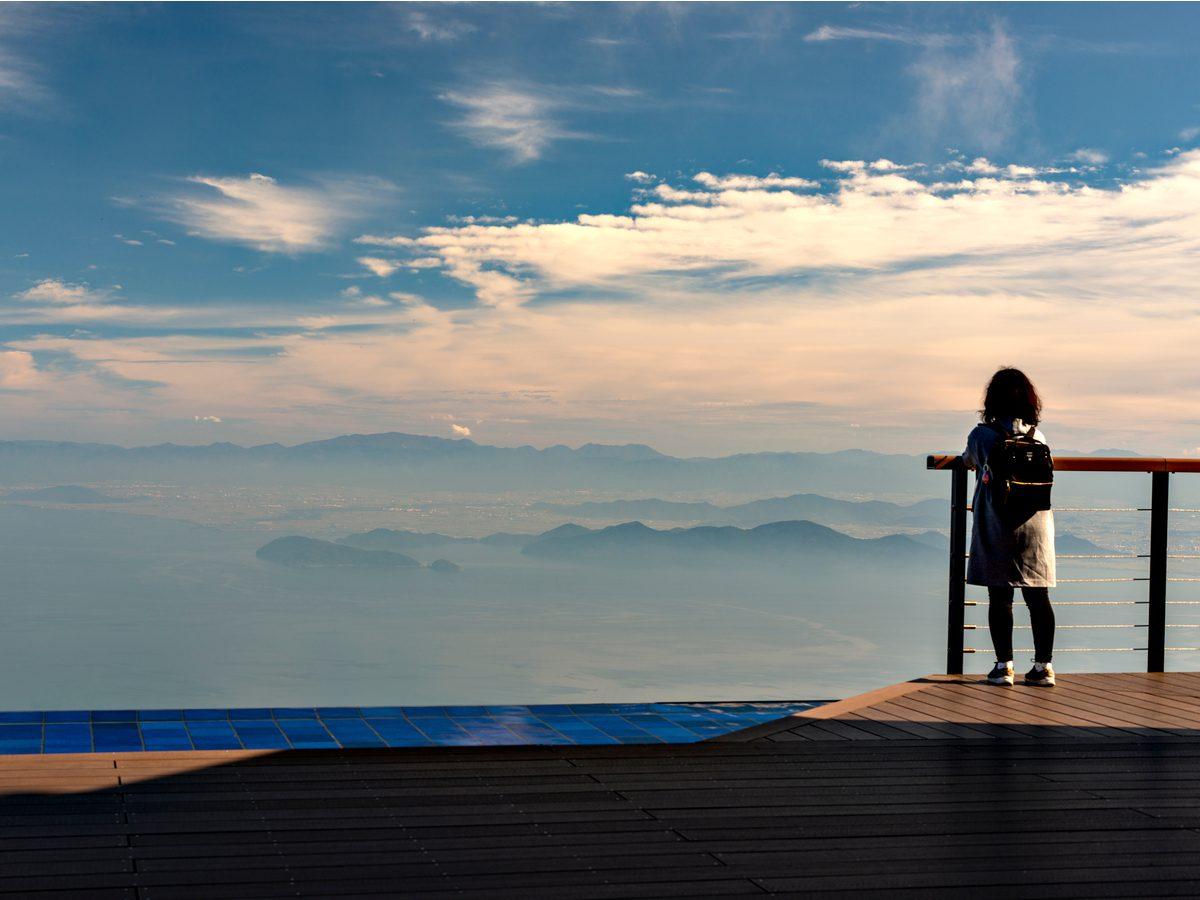 View of lake Biwa from the top of Mount Uchimi in Otsu city, Shiga prefecture, Japan