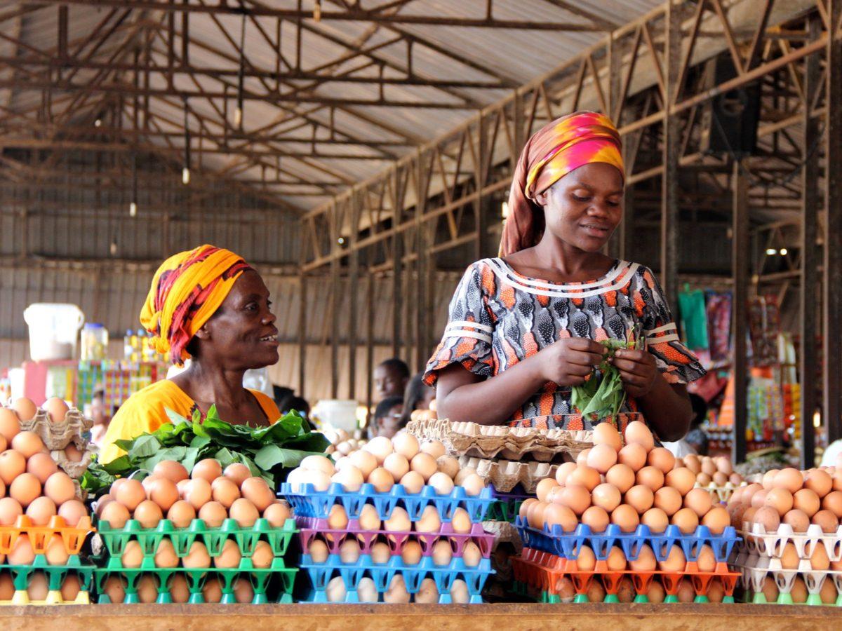 Rwandan women selling eggs in Kigali, Rwanda