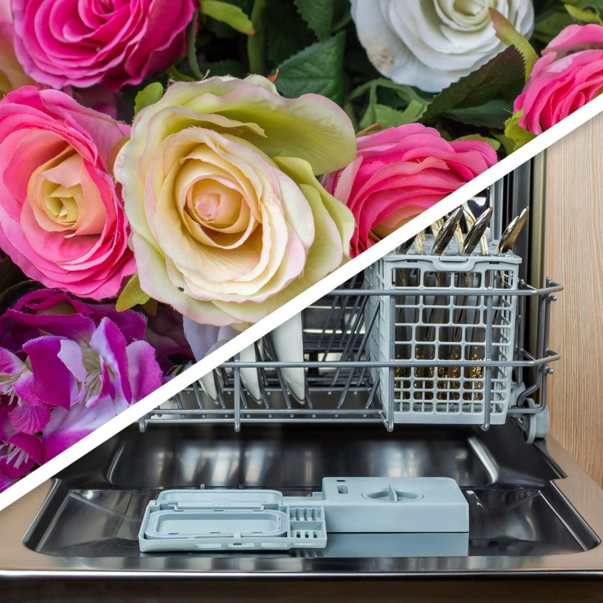 Fake flowers and dishwasher