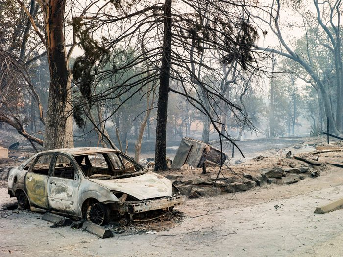 A torched car