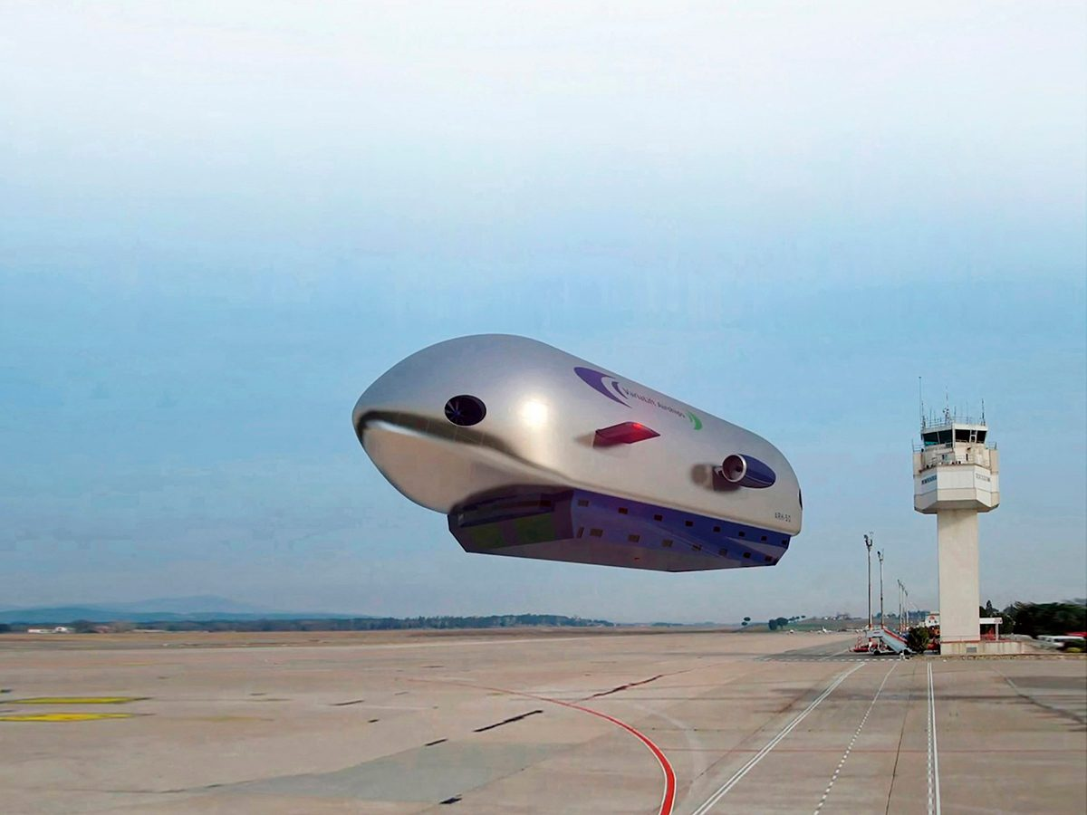 Good news from around the world - green airship on airport runway