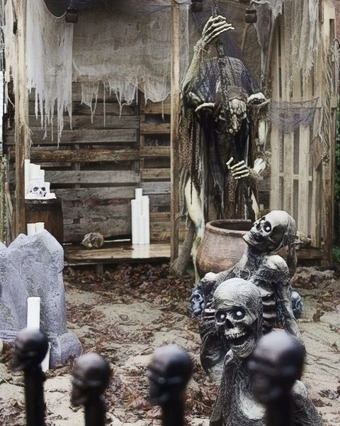 A creepy Halloween display with skeletons and candles