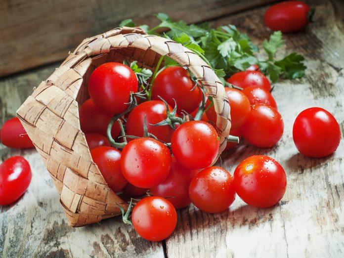 Tomatoes falling out of basket