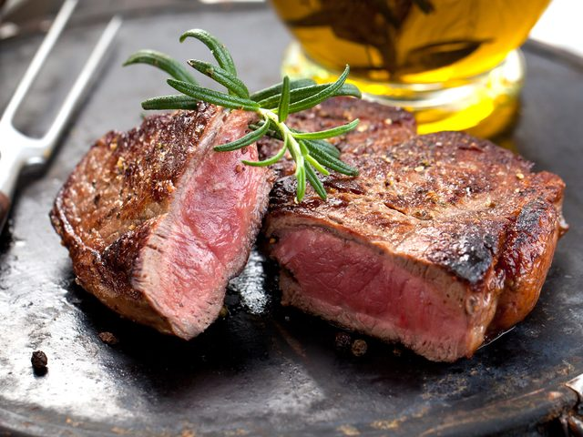 Steak with garnish