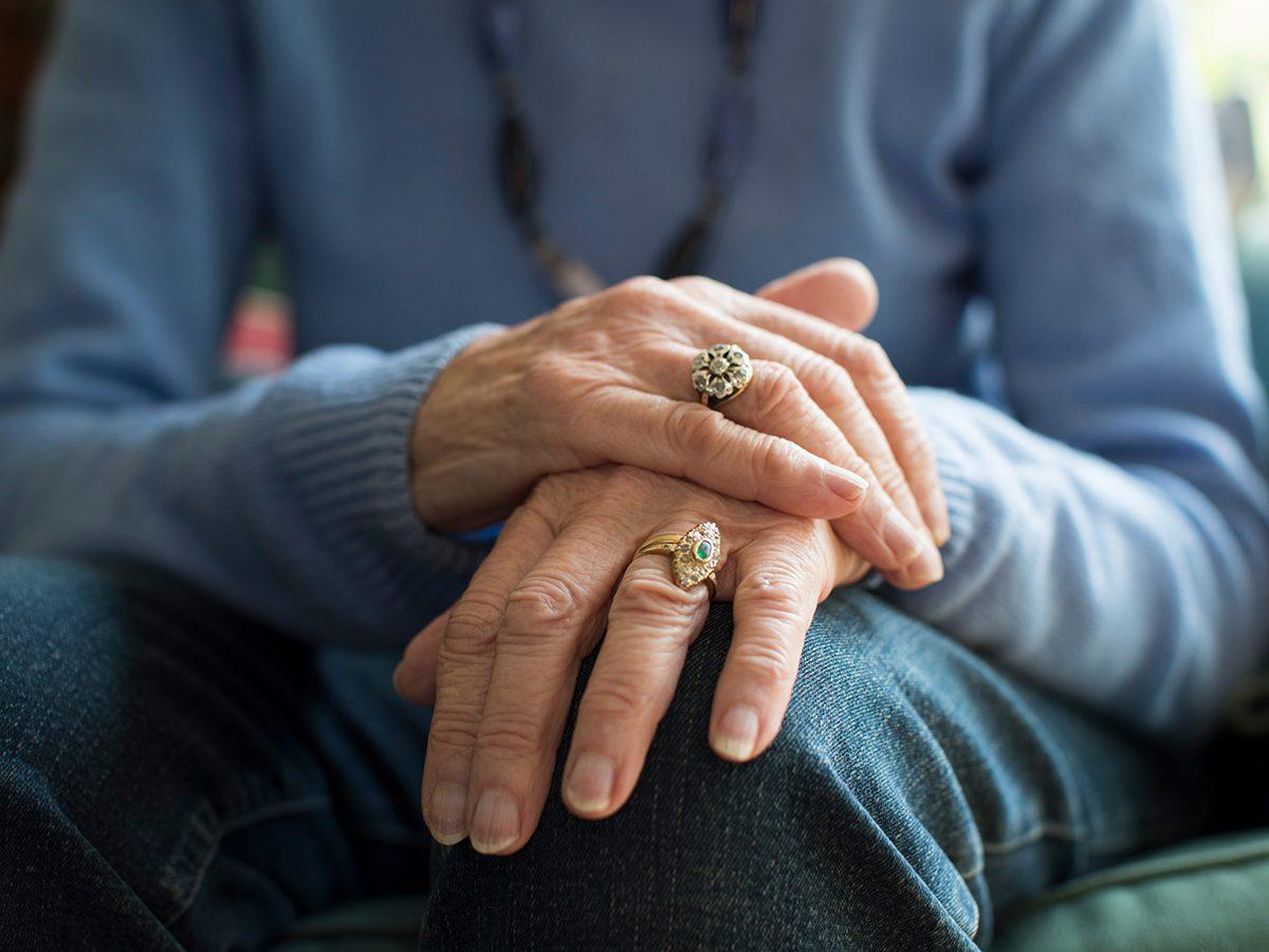 Medical trivia questions - senior woman hands