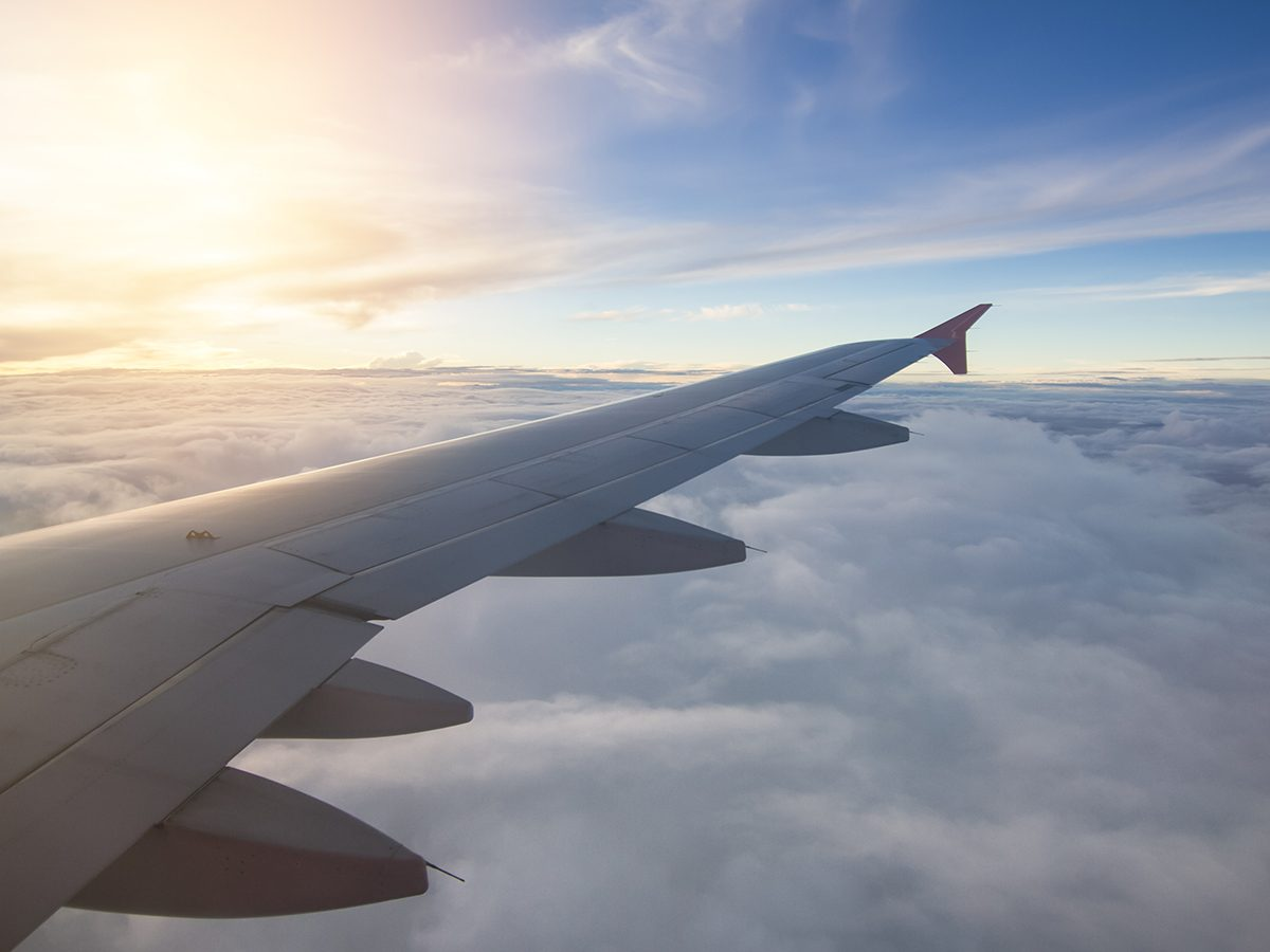 Motion sickness treatments - airplane wing