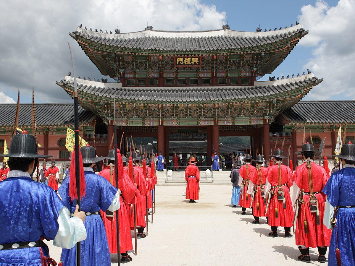 Royal parade at Palace in Seoul, Korea