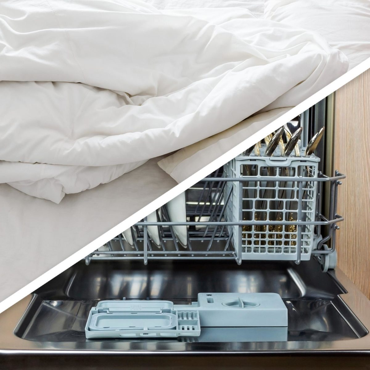 Bed sheets and dishwasher