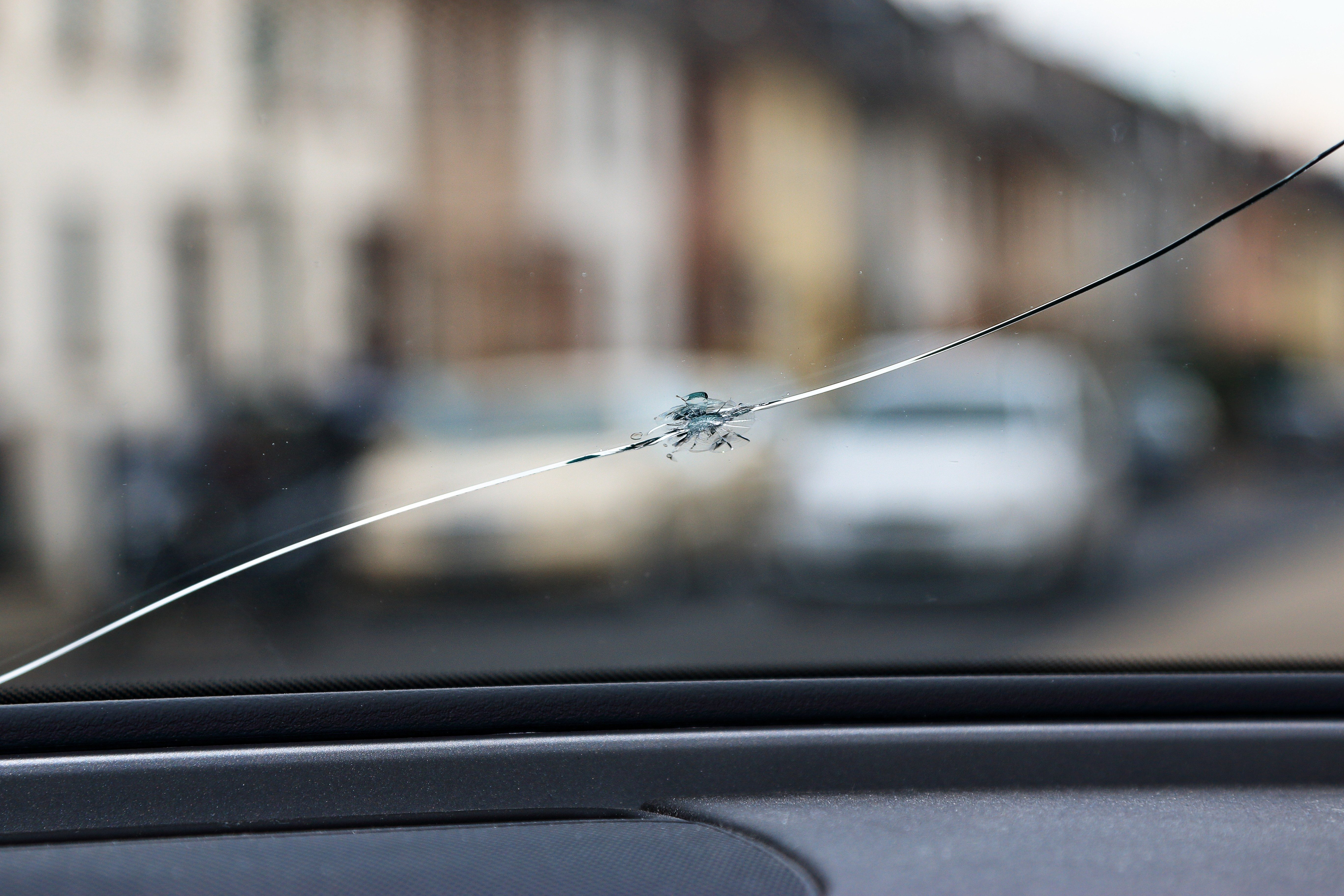 Crack of the windshield after rockfall