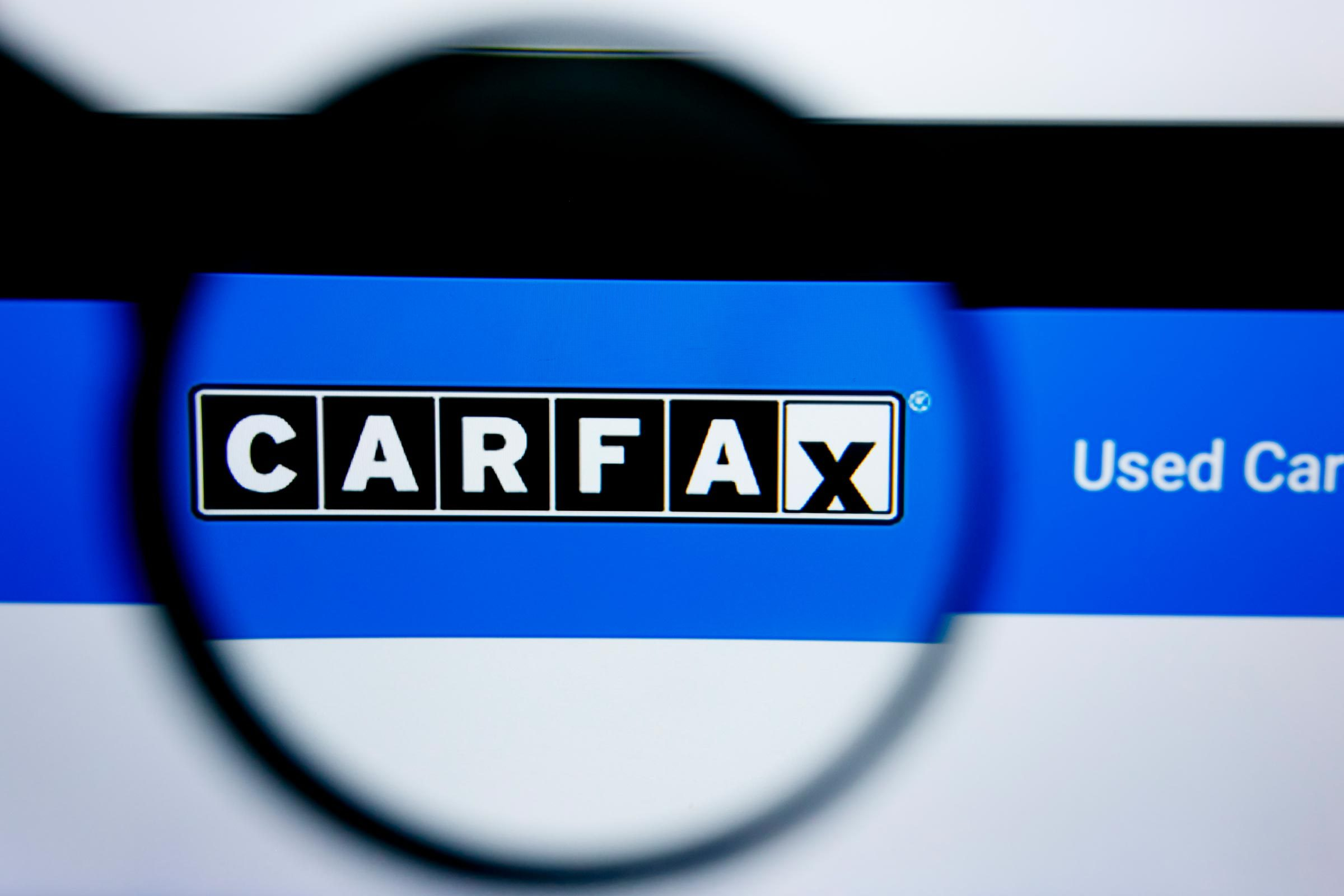 Carfax website homepage. Carfax logo visible on display screen.
