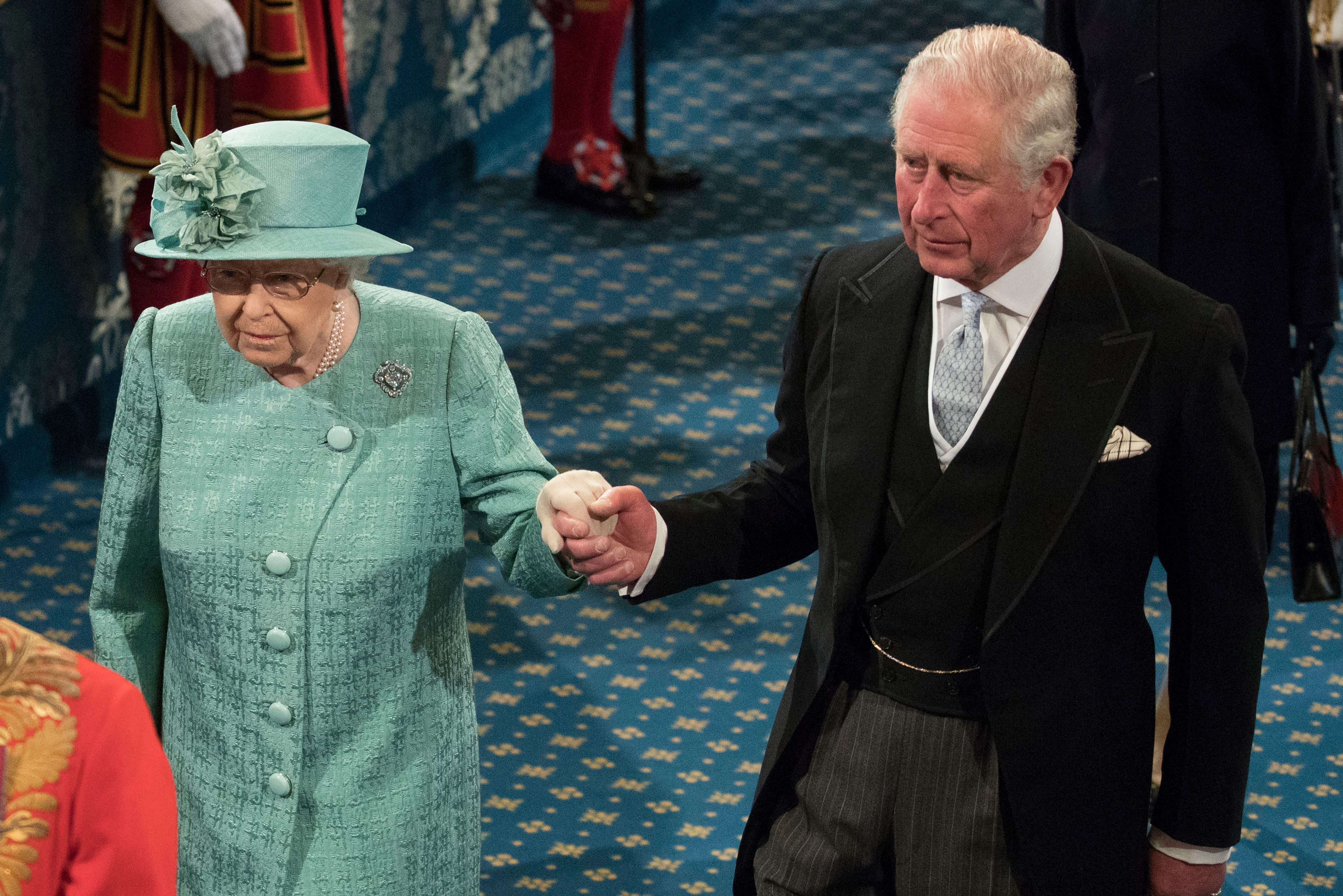 Queen Elizabeth II and Prince Charles attend the Opening of Parliament at the Palace of Westminster 19 Dec 2019