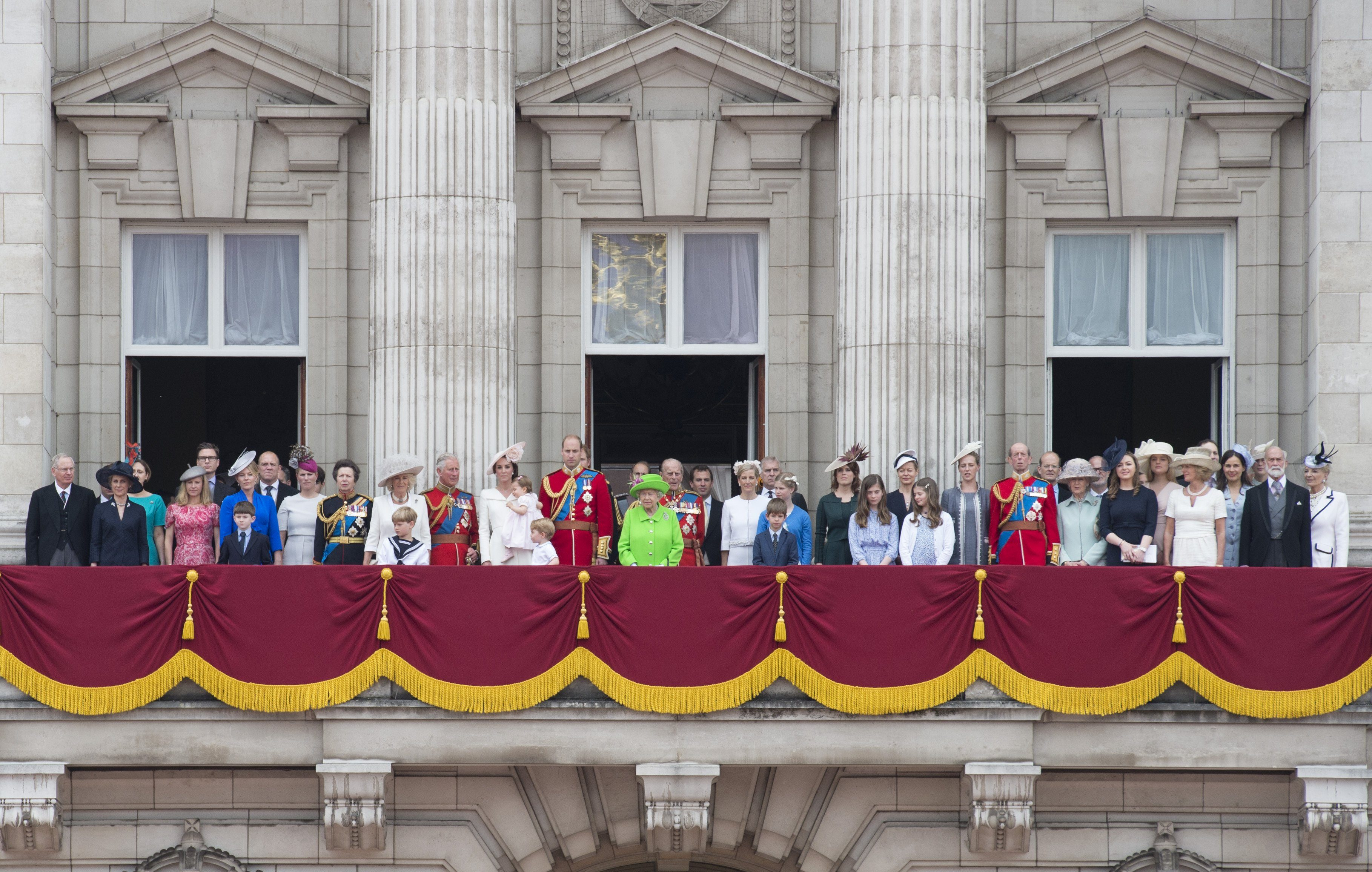 Mike Tindall, Zara Tindall, Princess Anne, Camilla Duchess of Cornwall, Prince Charles, Catherine Duchess of Cambridge, Princess Charlotte of Cambridge, Prince George, Prince William, Prince Harry, Queen Elizabeth II, Prince Philip, Peter Phillips, Sophie Countess of Wessex, Prince Edward Prince Edward, Lady Louise Windsor, James Viscount Severn, Princess Beatrice, Princess Eugenie, Prince Andrew Prince Andrew, Prince Michael of Kent, Princess Michael of Kent and members of the Royal family 11 Jun 2016