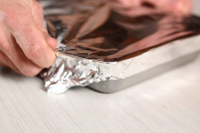 Cover pie with foil. Making Potato and Leek Filo Pie. Series.