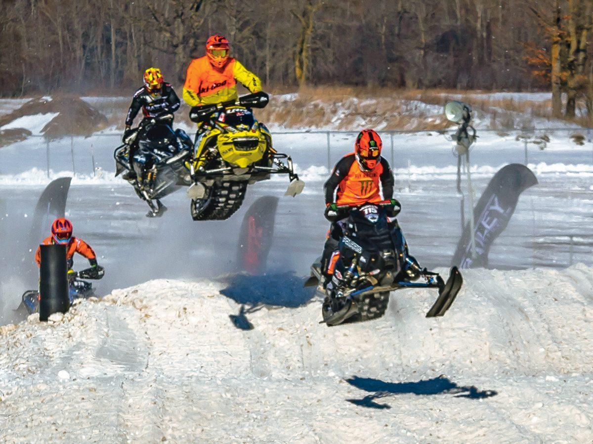 FXR Kawartha Cup Snowcross Race - snowmobiles taking air