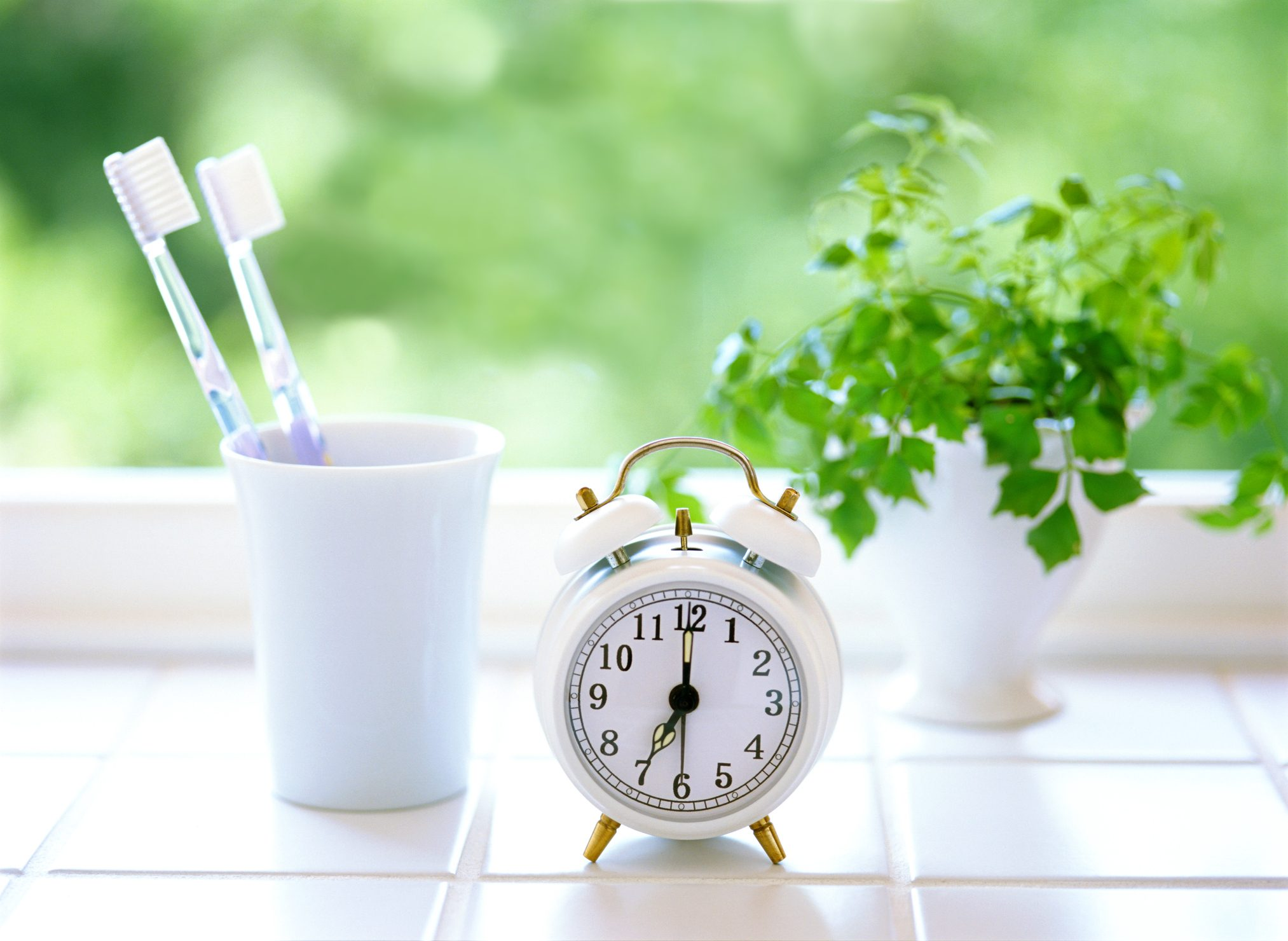 alarm clock and toothbrushes
