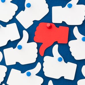 facebook like and dislike concept. white