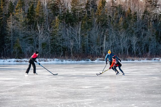 Family playing shinny on outdoor rink in front of trees