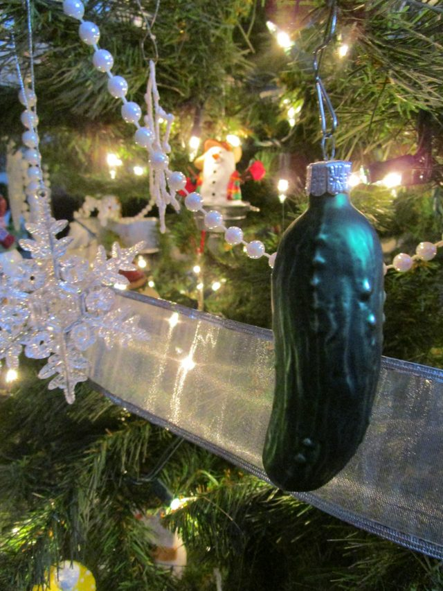 A green pickle Christmas tree ornament