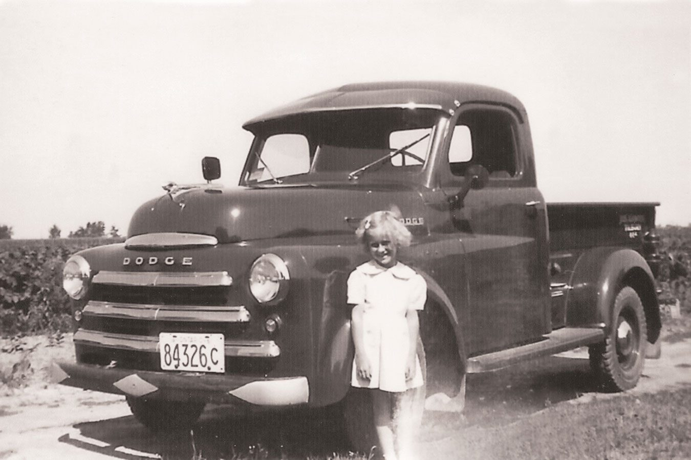 Millie and the brand new Dodge Ram in 1950