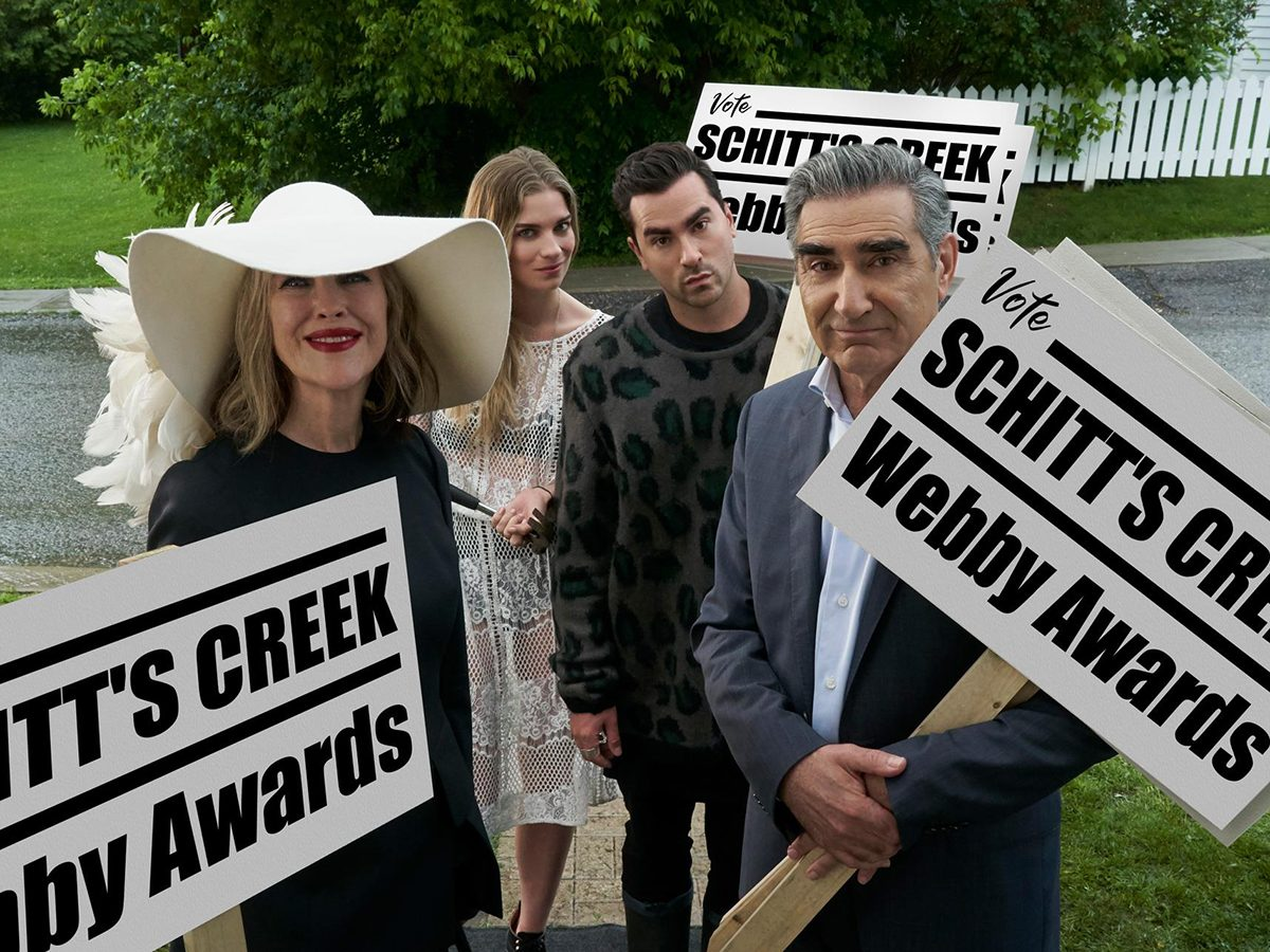 Schitt's Creek quotes - Rose family with signs