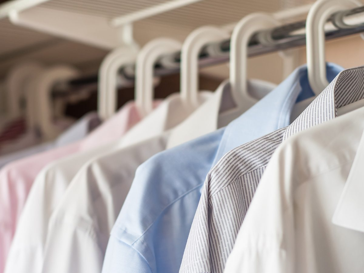 ironed shirts in the closet