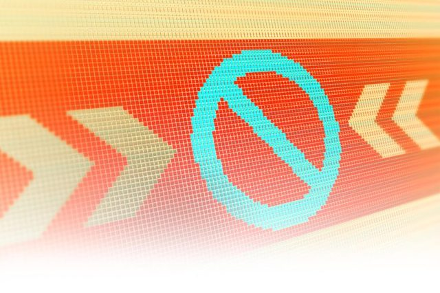 no sign symbol on pixelated cyber digital background