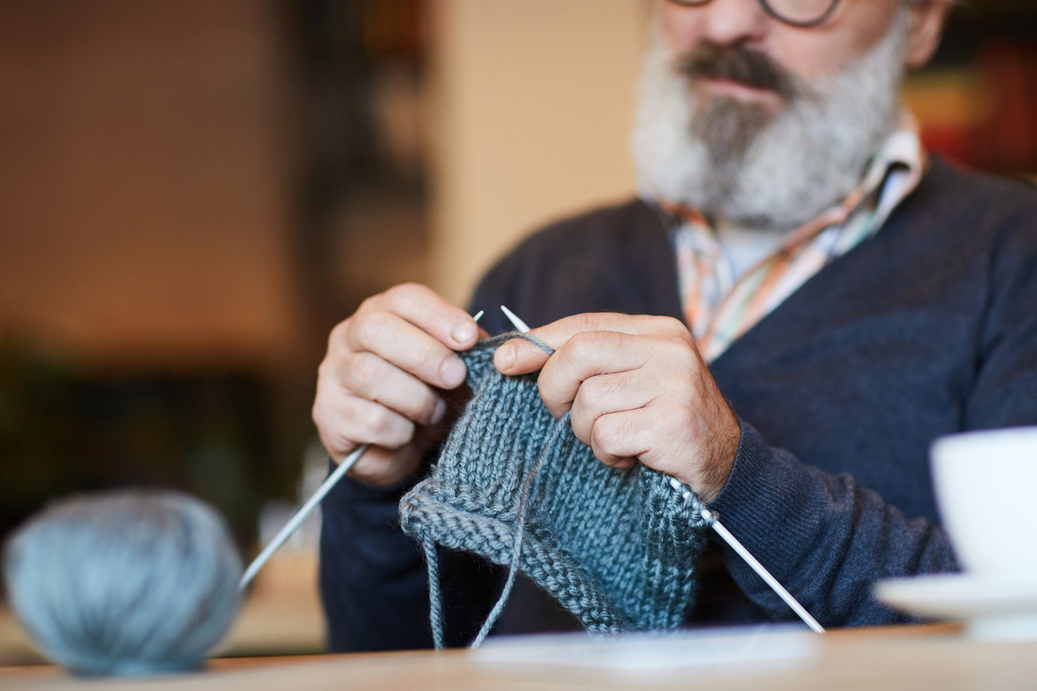 Grandpa knitting