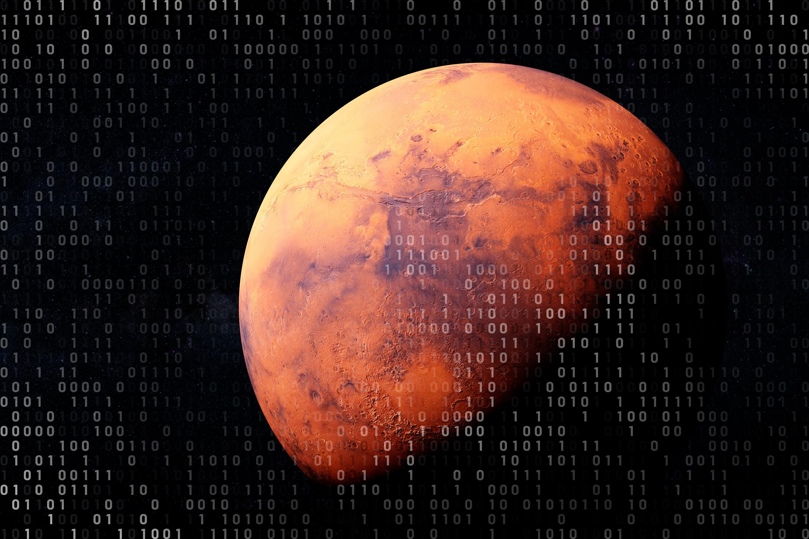 mars on black space background with computer code overlay