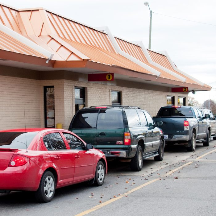 line of cars at a drive thru